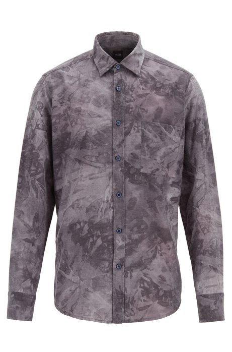 Regular-fit shirt in overprinted cotton flannel, Dark Blue