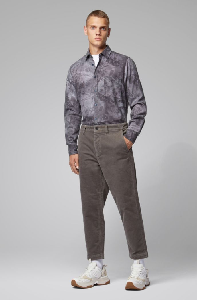 Regular-fit shirt in overprinted cotton flannel