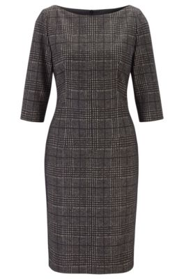 Glen-check shift dress in structured jersey, Patterned