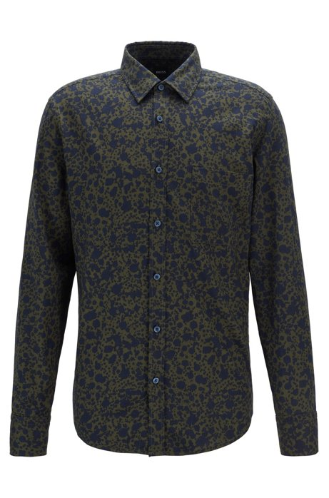 Retro-print regular-fit shirt in cotton, Open Green