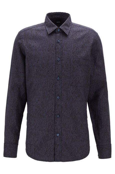 Retro-print regular-fit shirt in cotton, Dark Blue