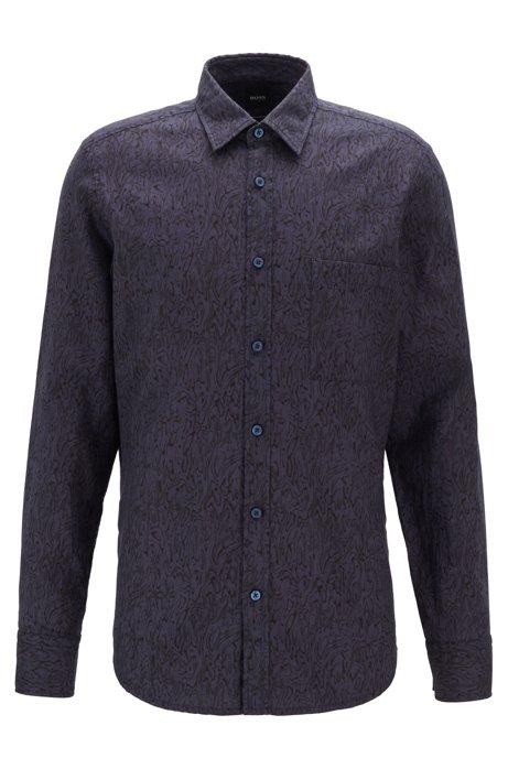 Retro-print regular-fit shirt in cotton, Dark Blue