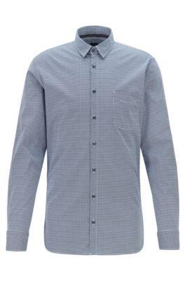 Slim-fit shirt in geometric-print stretch cotton, Dark Blue