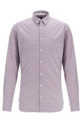Slim-fit shirt in geometric-print stretch cotton, Dark Purple