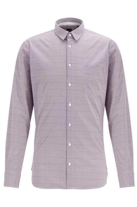 Slim-fit shirt in geometric-print stretch cotton, Dark Purple