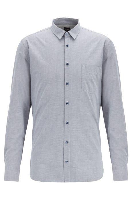 Slim-fit shirt in checked dobby cotton, Dark Blue