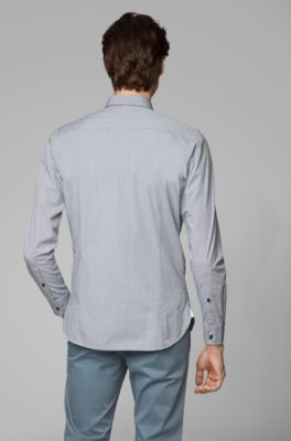 Slim-fit shirt in checked dobby cotton