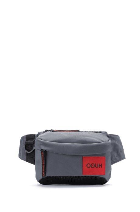 Belt bag with reversed logo and D-ring closure, Dark Grey
