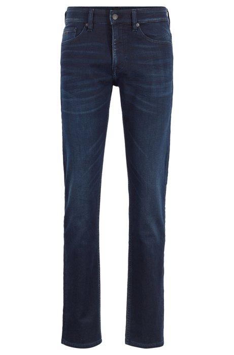 Slim-fit jeans in dark-blue knitted stretch denim, Dark Blue