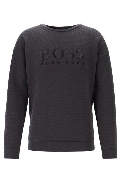 Regular-fit loungewear sweatshirt with flocked details, Black