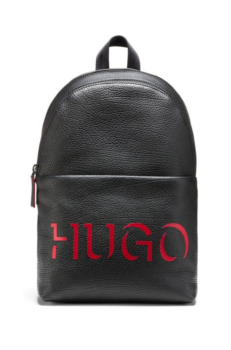 Buffalo-embossed leather backpack with 3D-effect logo, Black