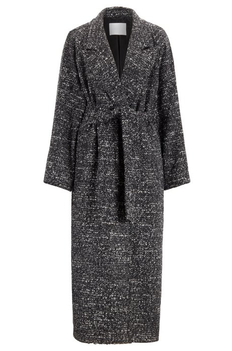 Regular-fit coat with oversize lapels in tweed bouclé , Patterned