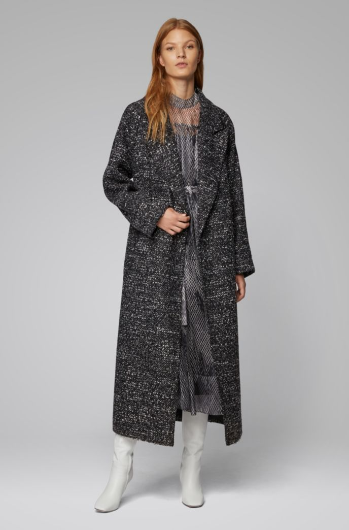 Regular-fit coat with oversize lapels in tweed bouclé