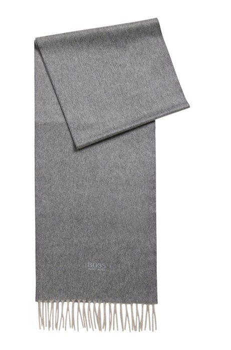 Scarf with fringed trim in Italian cashmere, Grey