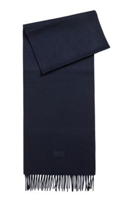 Scarf with fringed trim in Italian cashmere, Dark Blue