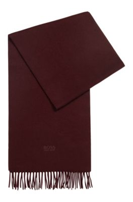 Scarf with fringed trim in Italian cashmere, Dark Red