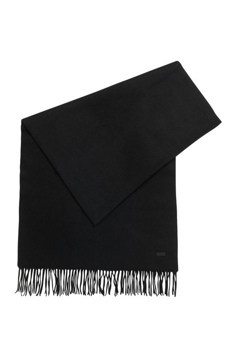 Scarf in brushed lambswool with rolled fringing, Black