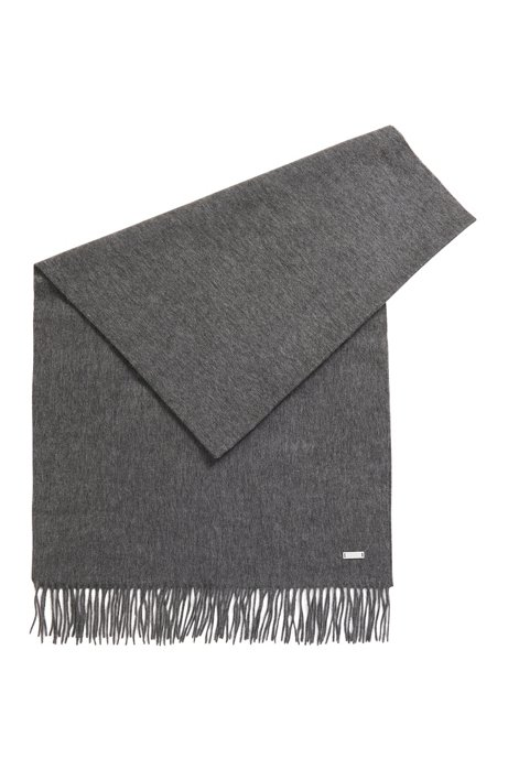 Scarf in brushed lambswool with rolled fringing, Grey