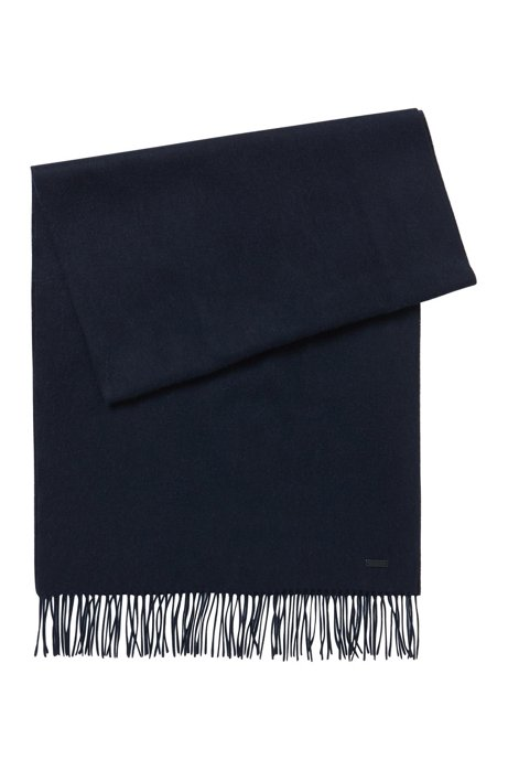 Scarf in brushed lambswool with rolled fringing, Dark Blue