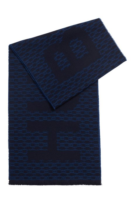 Italian-made monogram scarf in a brushed wool blend, Dark Blue
