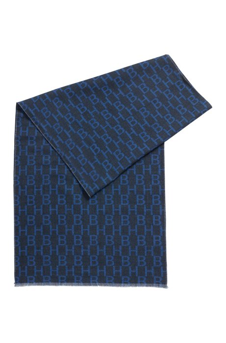 Italian-made wool scarf with monogram and check print, Dark Blue