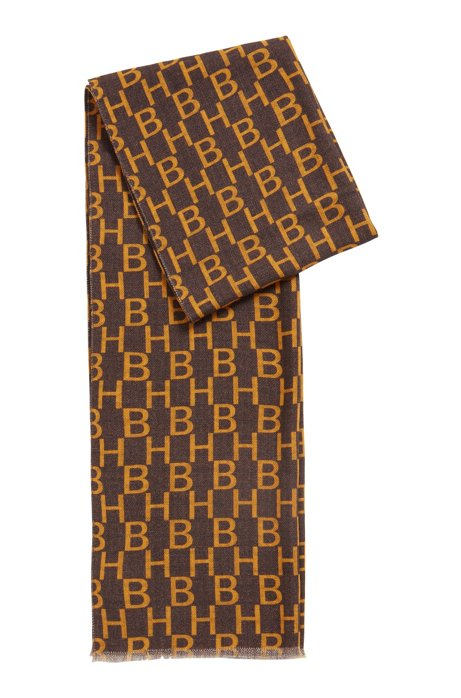 Italian-made wool scarf with monogram and check print, Gold