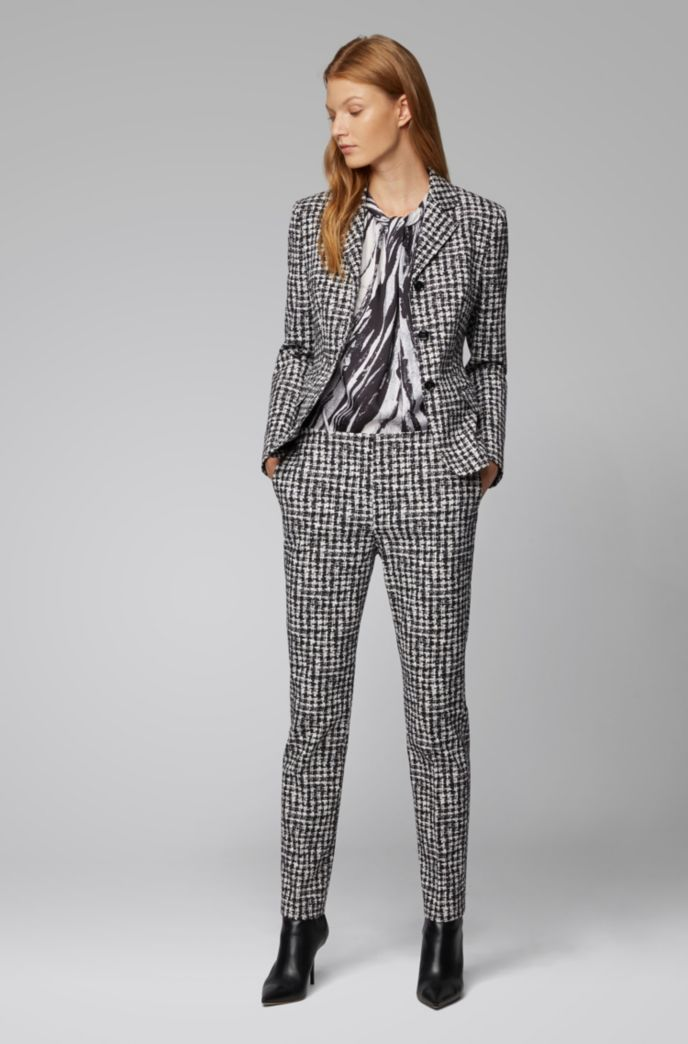 Regular-fit pants in checked Italian stretch fabric