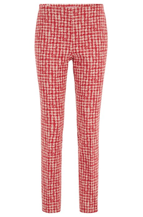 Regular-fit pants in checked Italian stretch fabric, Patterned