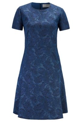 Boss Short-Sleeved A-Line Dress In Italian Jacquard Fabric In Blue