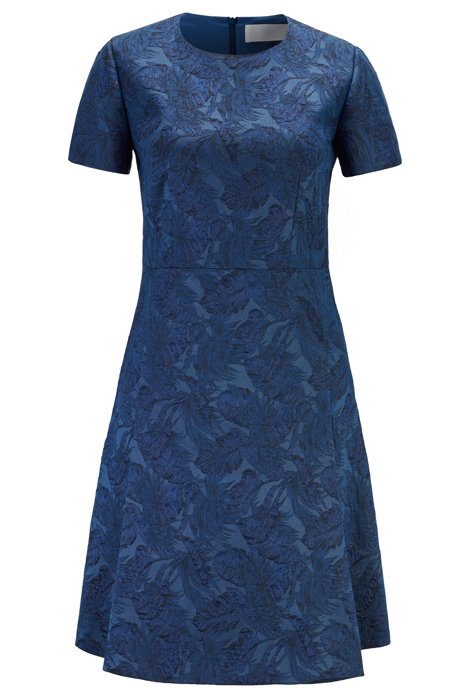 Short-sleeved A-line dress in Italian jacquard fabric, Blue