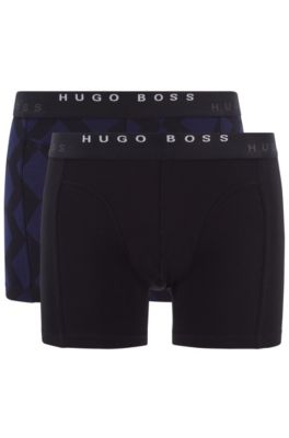 Two-pack of printed and plain boxer briefs in stretch cotton, Open Blue