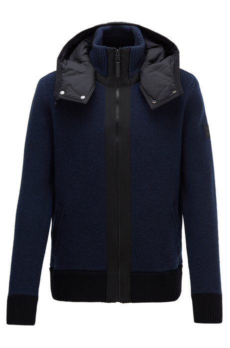 Regular-fit jacket with contrast removable hood, Dark Blue