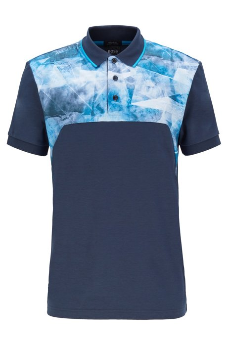 Luxury-cotton polo shirt with graphic-print panels, Dark Blue