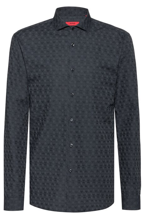 Extra-slim-fit shirt with tonal jacquard pattern, Dark Grey