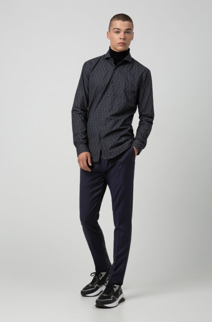 Extra-slim-fit shirt with tonal jacquard pattern