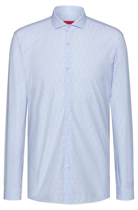 Extra-slim-fit shirt with tonal jacquard pattern, Light Blue