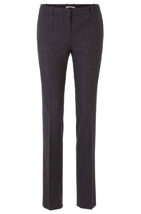 Regular-fit pants in Italian bicolored virgin wool, Patterned