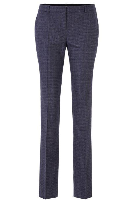 Regular-fit pants in Italian bicolored virgin wool, Patterned