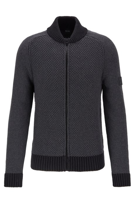 Cotton-blend knitted jacket with mixed structures, Black
