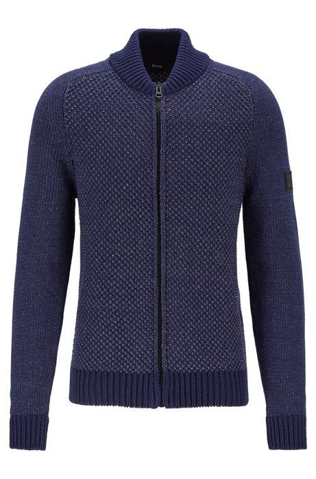 Cotton-blend knitted jacket with mixed structures, Dark Blue