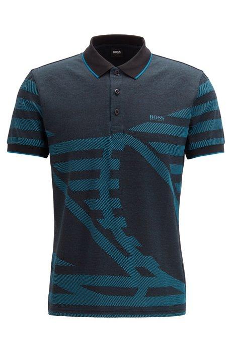 Cotton-blend polo shirt with intarsia jacquard, Black