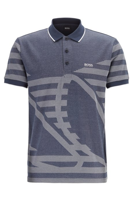 Cotton-blend polo shirt with intarsia jacquard, Dark Blue