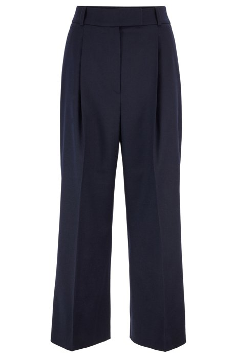 Relaxed-fit cropped pants in stretch wool, Open Blue