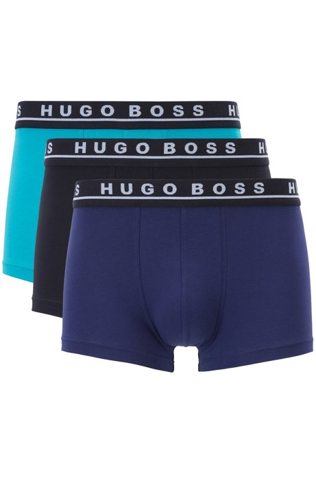 Three-pack of trunks with colored logo waistbands, Patterned