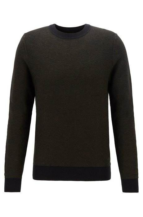 Lightweight sweater in a cotton blend with contrast details, Black