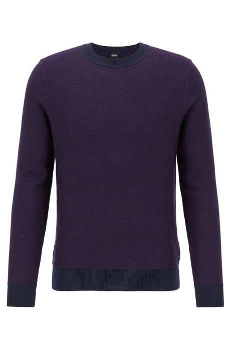 Lightweight sweater in a cotton blend with contrast details, Dark Purple