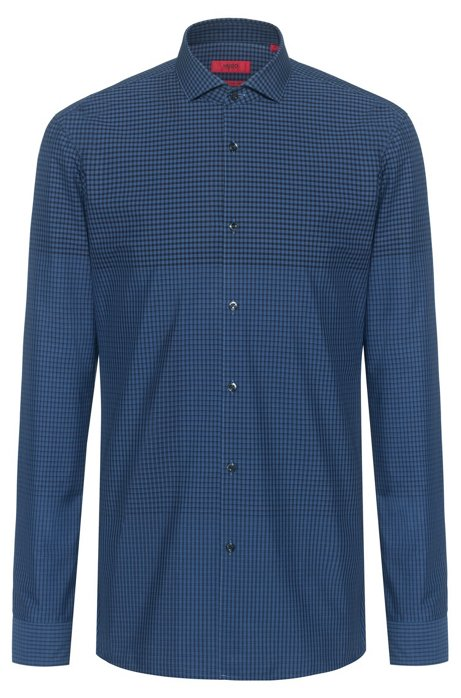 Extra-slim-fit cotton shirt with graduated check, Blue