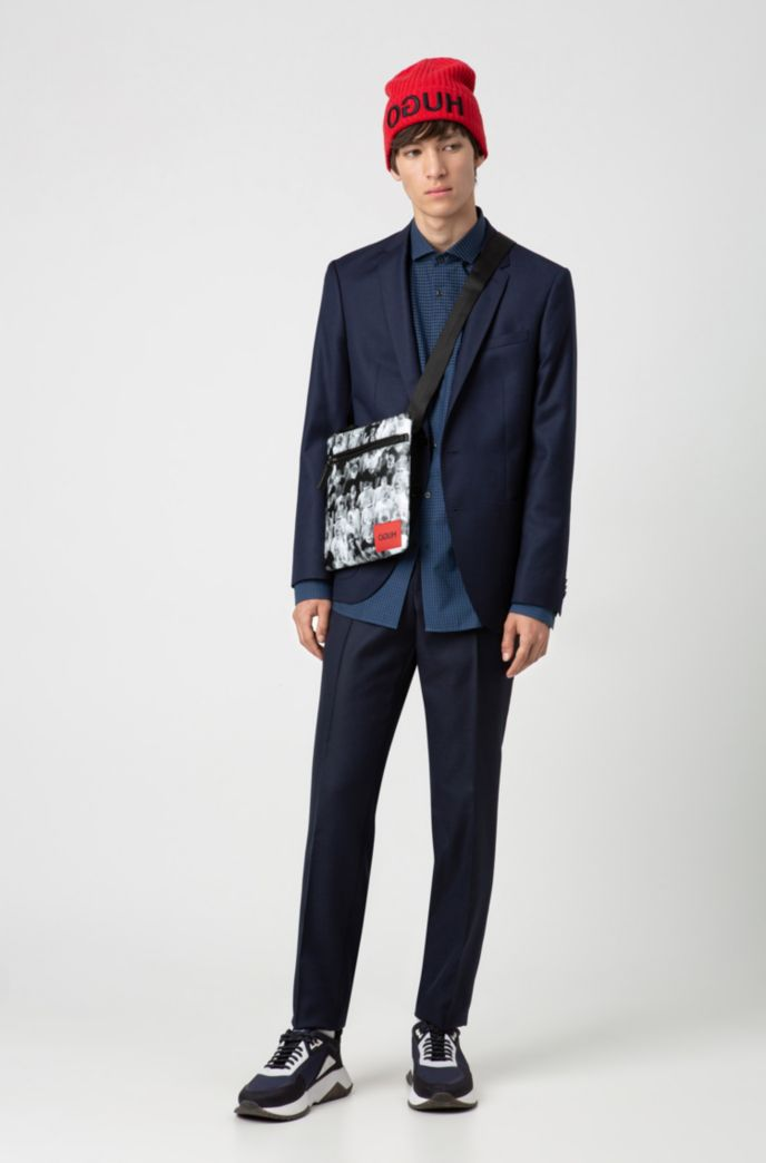 Extra-slim-fit cotton shirt with graduated check