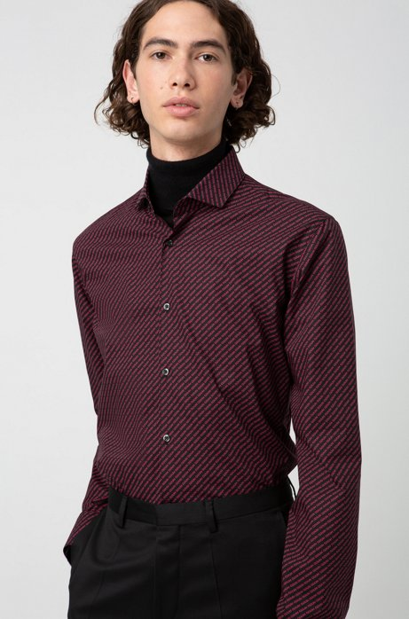 Extra-slim-fit shirt with reverse-logo print, Open Pink