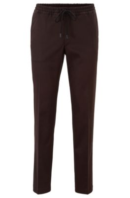 Slim-fit pants with drawstring in stretch gabardine, Dark Brown
